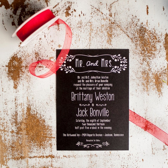 Chalkboard Wedding Invitation, Wedding Invitation  - The Mr. and Mrs. - rustic wedding invitation, black, unique invitations, rustic floral