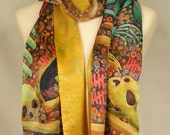 Silk Scarf - Skulls and Bones Scarf with gold lining