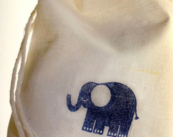 10 Elephant Favor Bags, Muslin Favor Bags, Gift Bags for baby Shower, 4x6 Bags, Elephant Birthday Party, Elephant Baby Shower, Treat Bags