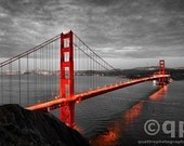 San Francisco Golden Gate Bridge in black and white hand colored