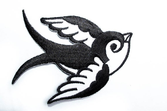 iron on patch old school bird tattoo two tones. Black Bedroom Furniture Sets. Home Design Ideas