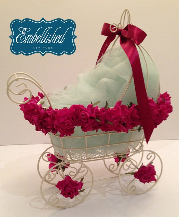 Items similar to baby carriage stroller centerpiece ivory for Baby carriage decoration