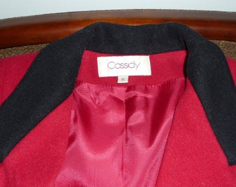 Vintage Red Cassidy Wool Coat with Black Velvet Collar