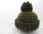 Olive Green Classic Canadian Toque/Hat/Beanie with Pom Pom for Adults - Ready to Ship