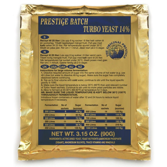 Prestige Batch Turbo 14% Distilling Yeast For Making Home Crafted Spirits