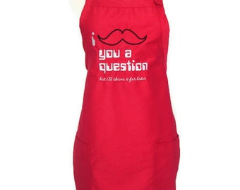 Embroidered Mustache Apron, Barbeque Apron, red or black, bbq grilling apron, aprons for men or women, chef apron, grilling apron, barbeque