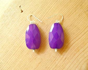 Deep Purple drop earrings, Purple statement earrings