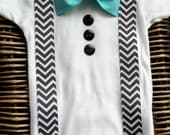 Baby Boy Clothes - Baby Bow Tie  - Infant Tuxedo - Coming Home Outfit - Chevron Suspenders With Blue Bow Tie - Boys First Birthday Outfit