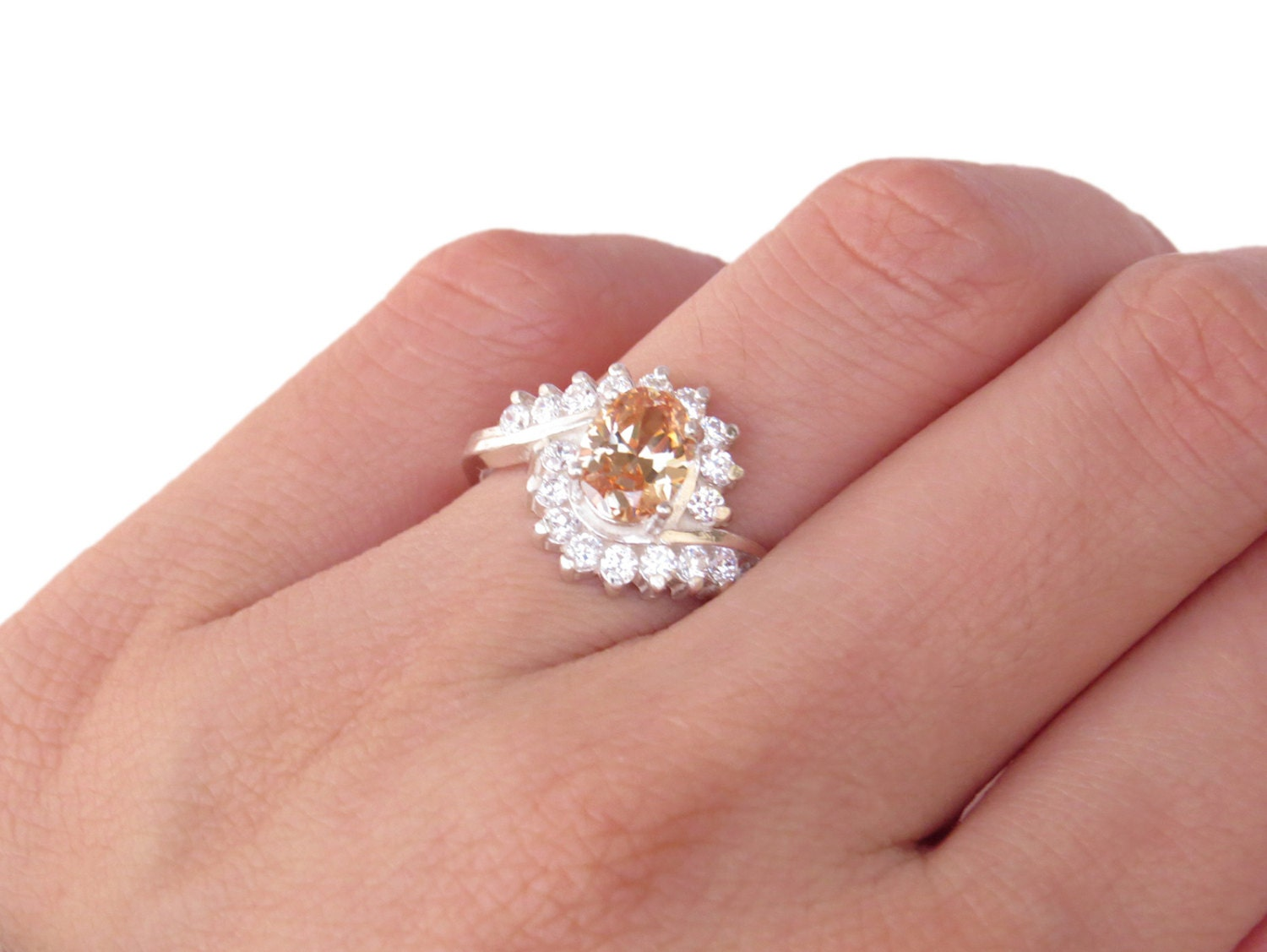 2 Carat Oval Halo Engagement Ring Champagne by TigerGemstones