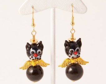 Gold and Black Precious Angel Cat Earrings