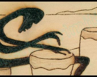 Afro Drummer / SOLAR ART - Solar PYROGRAPHY - Woodburned Art / Striking High Resolution Giclée Print