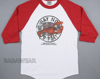 Lobster Just Say No To Pot Baseball Raglan T-Shirt Red/White