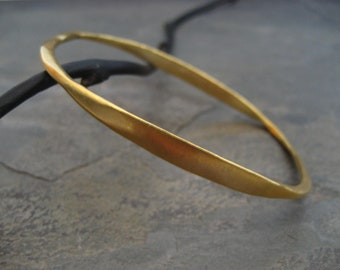 Gold oval bangle, stackable bangle, asymmetrical bangle, oval bracelet, uneven bangle, silver with gold, wide to narrow, simple bangle