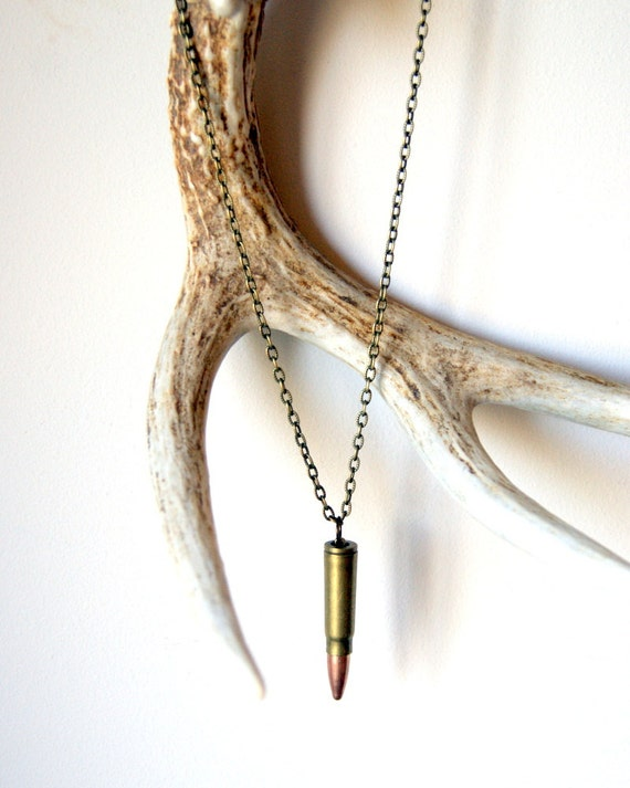 Bullet Necklace - vintage bullet - brass chain - mens necklace - unisex fashion - Bullet Jewelry - Rustic Jewelry - Reclaimed