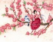 Korean Fairy, art print, Spring blossoms, fairy tale illustration, watercolor print, pink flowers