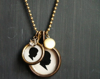 Multiple Pendant Necklace with Locket and Stone