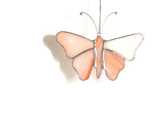 Flamingo Pink Stained Glass Butterfly Suncatcher, Mobile, Window Ornament, Opalescent Home Decor Sun Catcher Salmon Cute Gifts Spring Garden
