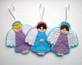 DIY  Felt Angel Ornaments - PDF Sewing Pattern & Embroidery Pattern, Christmas decorations