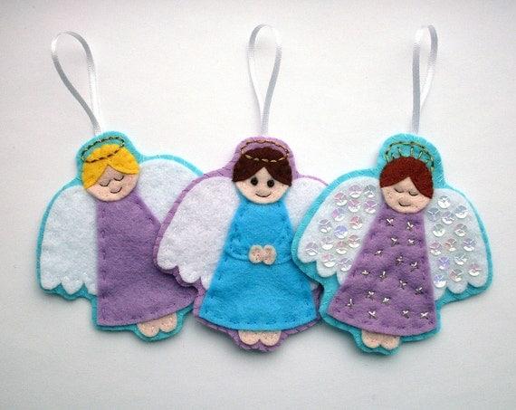 DIY  Felt Angel Ornaments - PDF Sewing Pattern & Embroidery Pattern, Christmas decorations