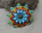 Reserved Sandy Farringer Lampwork Disk Focal,  Turquoise-Orange-Yellow-Red Artisan Handmade SRA Glassymom