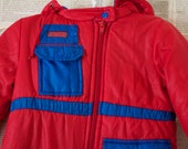 Vintage Kids Snow Suit - Retro Red and Blue Down Winter Suit - Kids Outerwear Coat - Hooded Ski Bibs