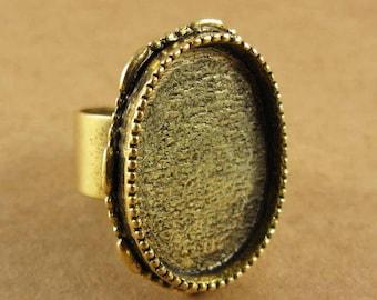 Ornate Bezel Large Oval Ring Blank - Adjustable - Antique Gold Finish
