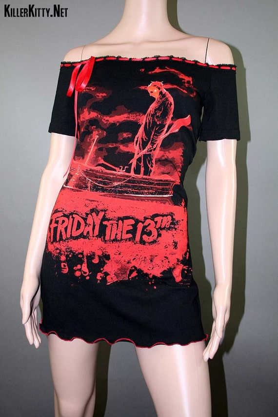 Friday The 13th Jason Horror Off Shoulder Ribbon Dress Tunic