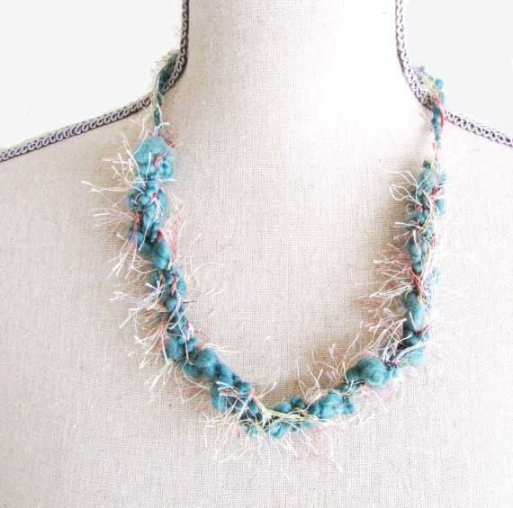 Crochet Fancy Yarn Necklace blue green white Colors Handmade Jewelry # 45