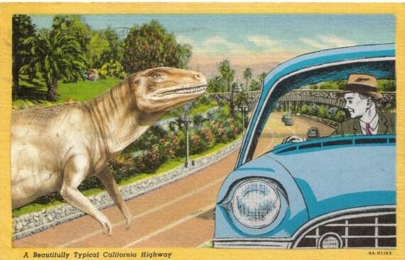OOAK One of a Kind Original Artwork Paper Collage Art Postcard Funny Dinosaur