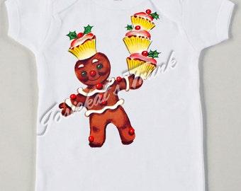 Retro Gingerbread Shirt - Christmas Gingerbread Shirt - Christmas Tee Custom Size - Vintage Tshirt Cupcake Christmas - Kids Christmas Shirt