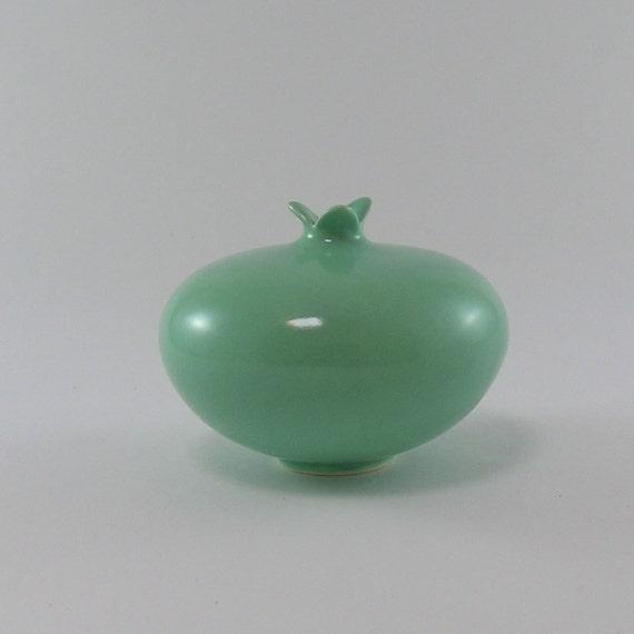 Modern Minimalist  Pomegranate Ceramic Vessel in Green