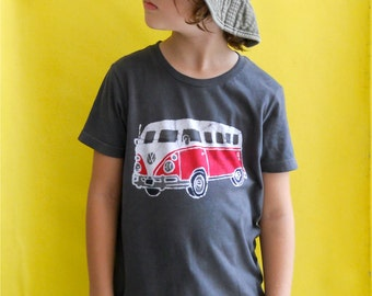 VW camper bus hand dyed clothing, westfalia, flower power batik t shirt hippie top birthday t shirt hand painted vintage black boys clothing