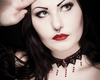 Gothic steampunk lace choker, Ruby red Victorian choker with Garnet Swarovski cascade - ANGELIQUE