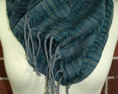 Cotton Handwoven Spaced Cowl - Blue Variegated & Gray