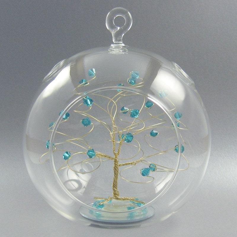 Christmas ornament december birthstone blue zircon swarovski