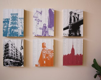 NYC Print Collection / NYC Print Set of 6 / Ready to hang Artwork / Mounted Wood Block Prints