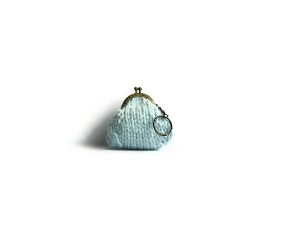 Baby Blue Wool Kiss Lock Coin Purse Keychain, Womens Tiny Pouch, Clasp, Mini, Small, Cute, Change Purse, Hand Knitted Items, Gifts Under 20