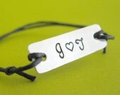 Love Initials Custom Stamped slide knot bracelet on cotton cord