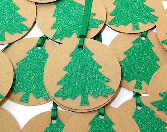 Handmade Christmas Tags - Christmas Gift Tags, Christmas Party Favor Tags - Kraft Tags, Green Glitter Trees