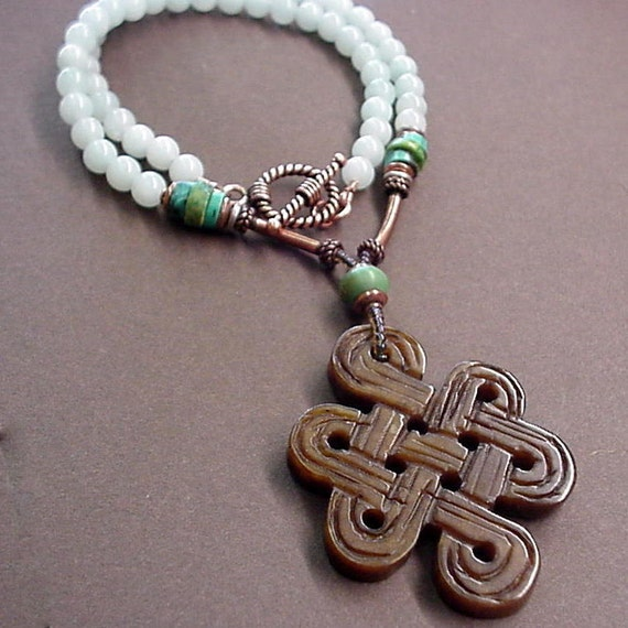 blue brown infinity jade knot necklace with by
