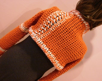 Fall Autumn Orange Creamsicle Sleeves Sweater Shrug Scarf - Great Gift SZ Md-LG