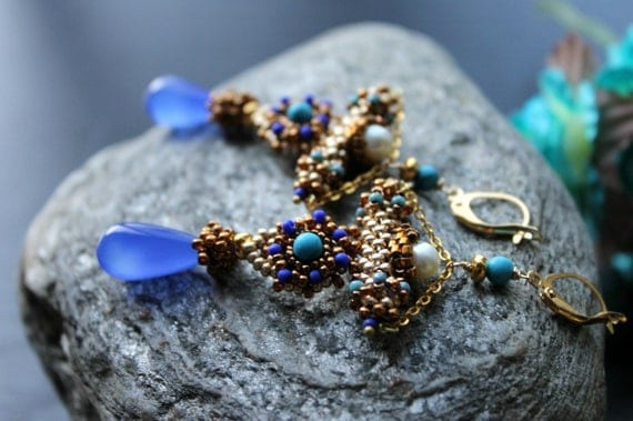 Shades of Blue, chalcedony, Turquoise and Pearl ,seed beads gold earrings  - The Blue Goddess