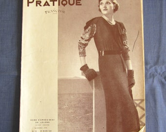 Vintage French Magazine Mode Pratique March 1937 Fashion Sewing and Knitting