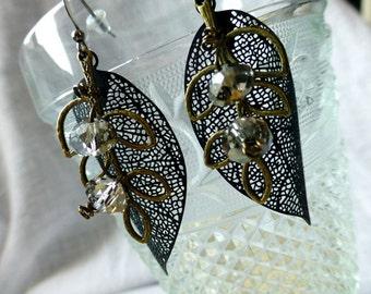 Paris Glam Crystal Black Leaf Earrings - Skeleton Filigree Long Leaves Statement Earrings - Bridal Formal Evening Glam Earrings