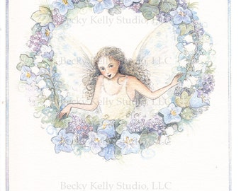 Print 8X10, Shy Fairy in a Blue Wreath