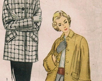 1940s Simplicity 3090 Vintage Sewing Pattern Misses Topper,  Jacket, Coat Size 14 Bust 32