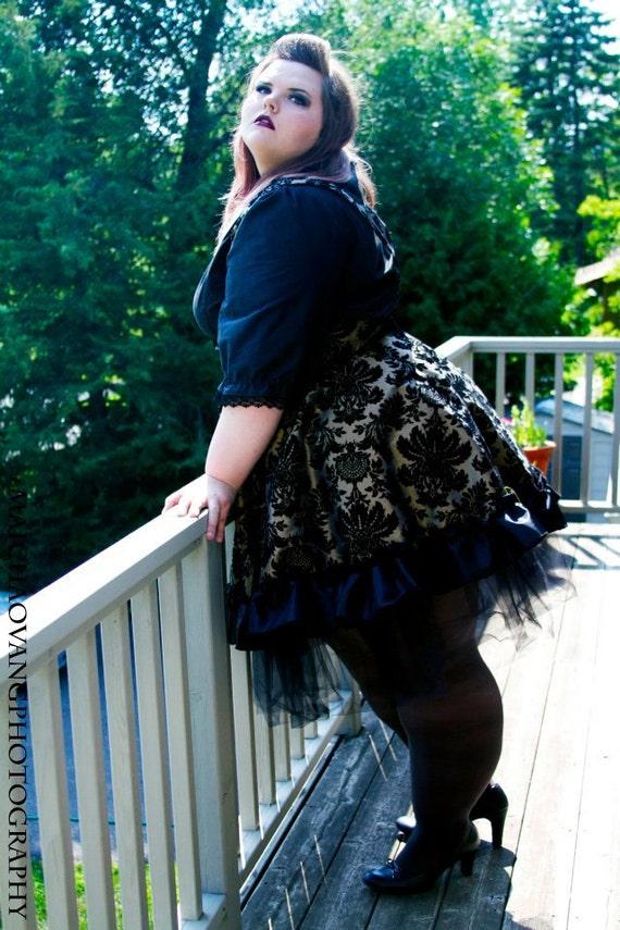 Plus size Steampunk Dress Lolita Jumper Gold Black Velvet Flock - 3X-5X