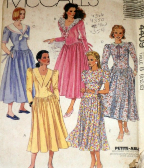 Vintage 1980s McCall's 4409 Sewing Pattern, Misses' Dress, Sizes 8 - 10 - 12, Factory Folded