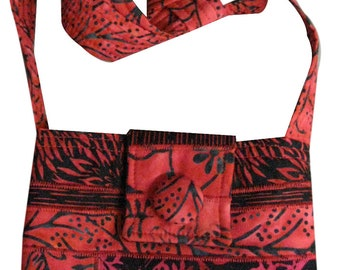 Cross Body Hip Purse in Red and Black Batiks