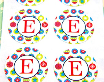 Christmas Monogram Stickers -  Ornaments, 16 1 inch Round Choose Your Letter, Initial, Alphabet